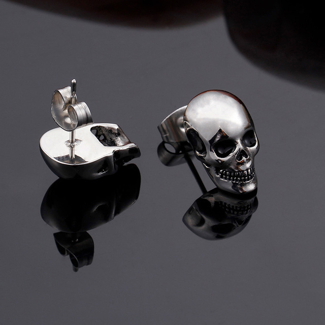 STAINLESS STEEL SKULL HEAD EARRINGS