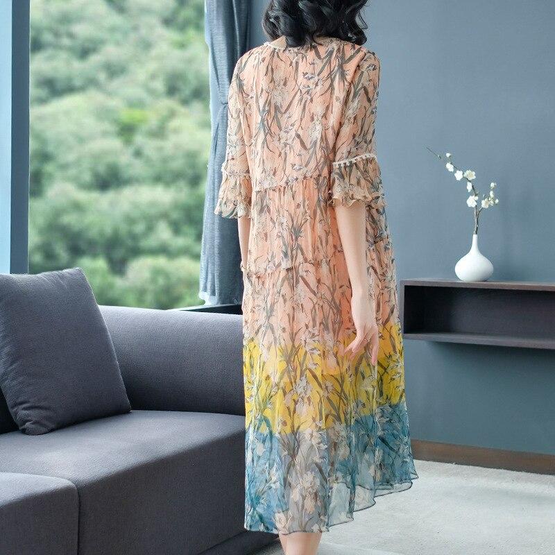 La Mujeres Impresión Moda Oro Seda Nueva Suelto Elegante Popular Las De Primavera Vestidos AEddY