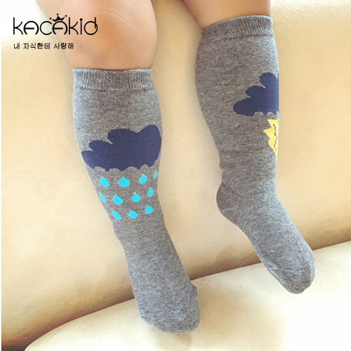 Kacakid baby girls boys Sock childrens knee long socks kids cotton Clouds socks Asymmetry cartoon unisex socks