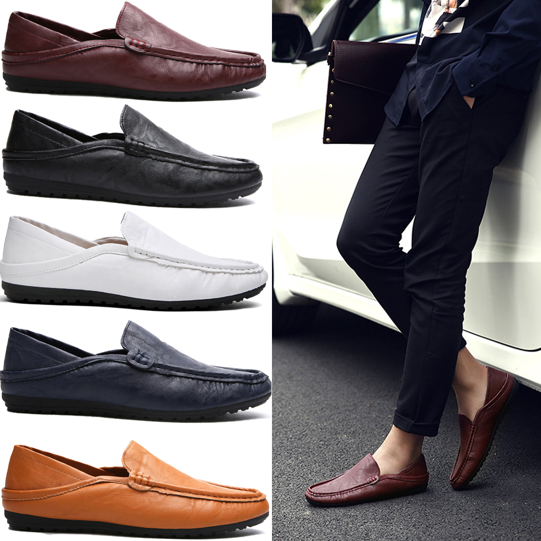 men casual leather shoes oxford shoes high quality genuine ...