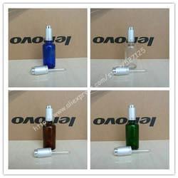 50 мл блестящие прозрачный/зеленый/коричневый/синий стеклянная бутылка с матовый серебристый алюминиевый нажмите капельницы колпачок