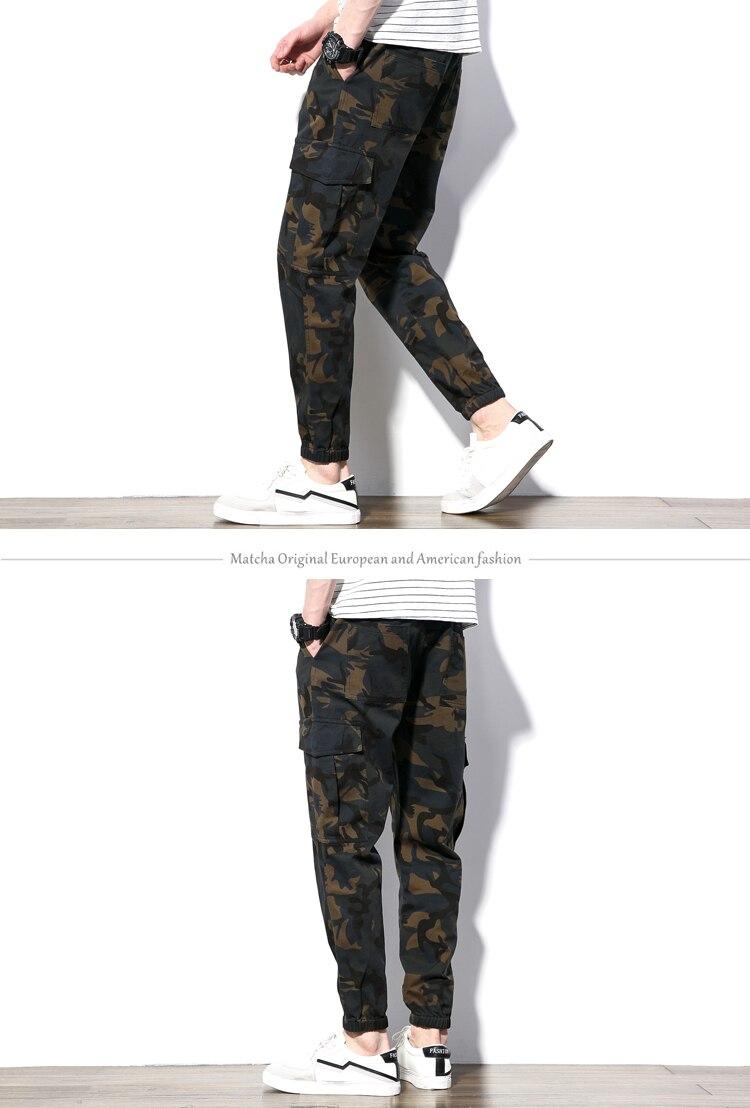 Męskie spodnie Cargo luźne multi pocket kamuflażu spodnie