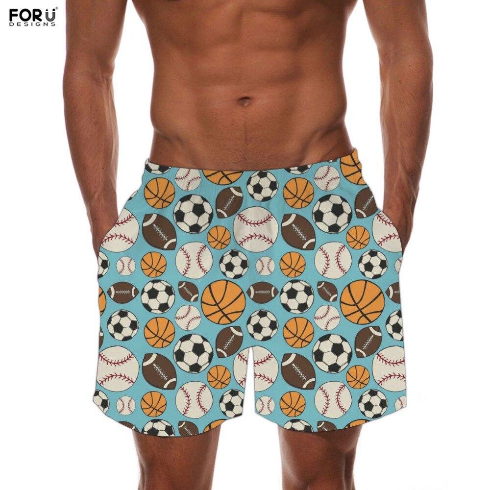 FORUDESIGNS Fashion Men Casual Short Pants Soccer Ball Print Elastic Waist Lining Quick Dry Beach Boardshorts Bodybuilding Pants