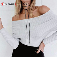 Haute Couture 2016 Automne Femmes Off Épaule Sexy Blouses Chemises Slash Cou À Manches Longues Tricoté Moulante Blouse Dames Tops Blusas