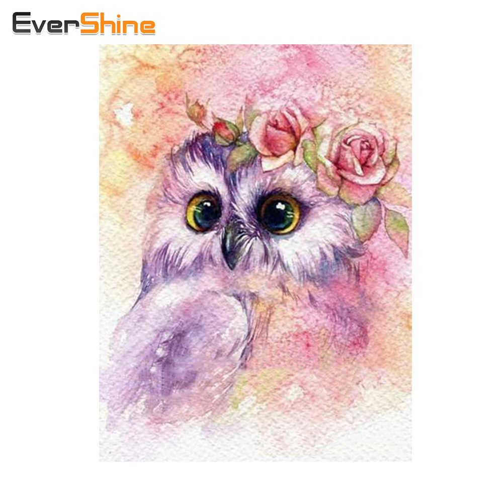 Evershine Lukisan Berlian Burung Hantu Persegi Berlian Bordir Kartun Gambar Rhinestones Mosaik Diamond Dekorasi Rumah