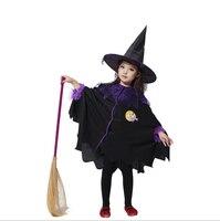 عيد هالوين للأطفال الأطفال أطفال طفل فتاة ساحرة + قبعة تأثيري زي ملابس الأداء