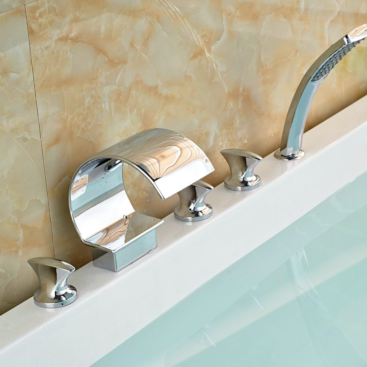 Deck Mounted Brass Chrome Polish Tub Faucet Bathroom 5pcs Faucet Hot&Cold Faucet Three Handles