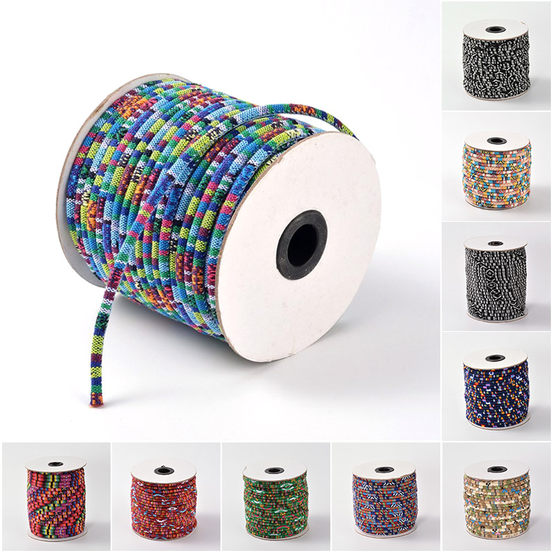 50yards/roll <font><b>4</b></font>/6mm Rope Cloth Ethnic Cords Ropes Thread For <font><b>DIY</b></font> Jewelry Making Necklaces Bracelets Crafts Supplies Handmade image