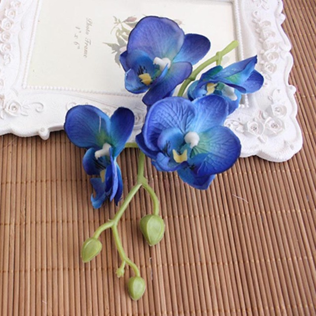 4Heads/PCS,Real Touch Silk Phalaenopsis Orchid,Green Stem Of Length