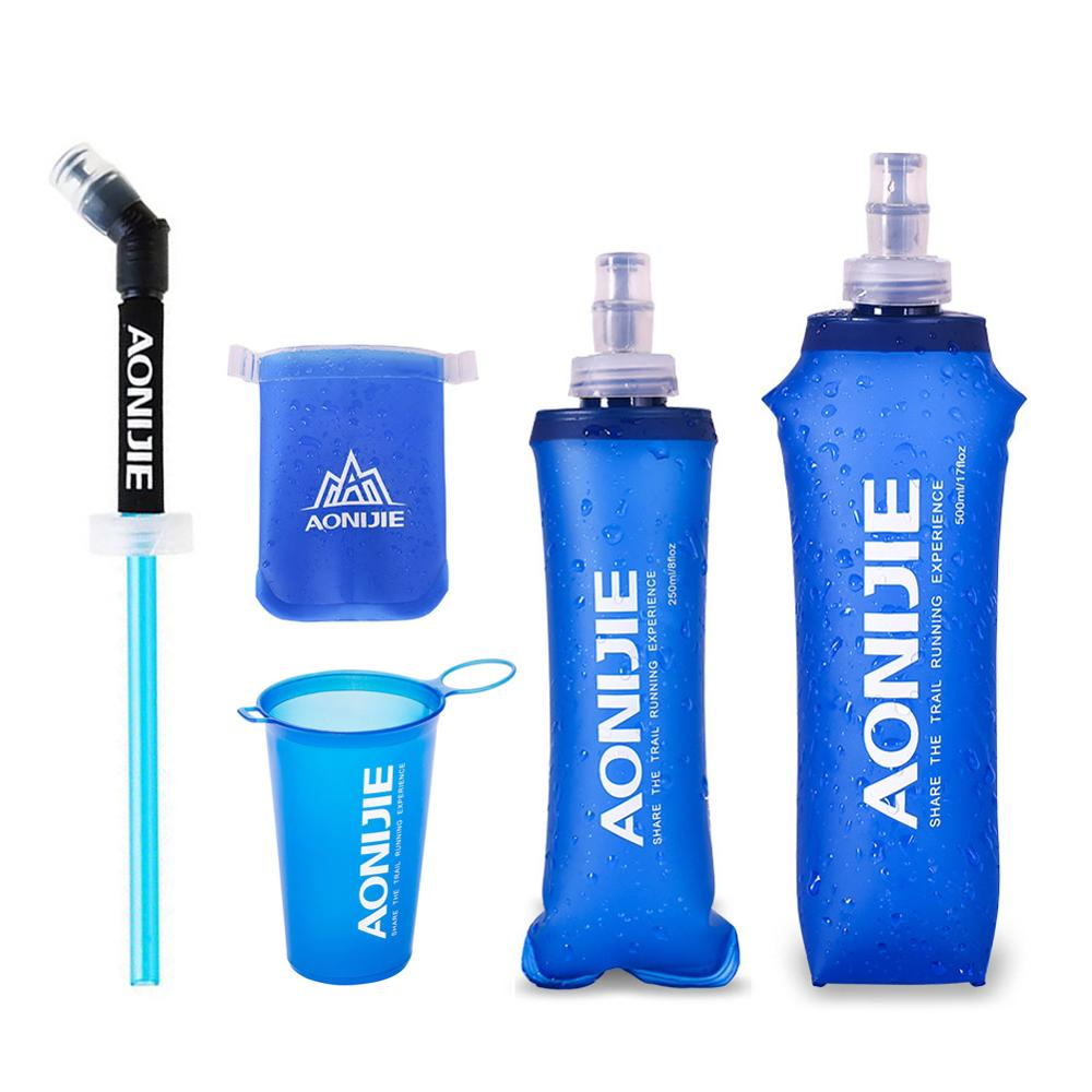 AONIJIE Soft Flask Folding TPU Water bag Soft Water Bottle Foldable Drink Bottle Running Camping Hiking 250ml 500ml 350ml 600ml