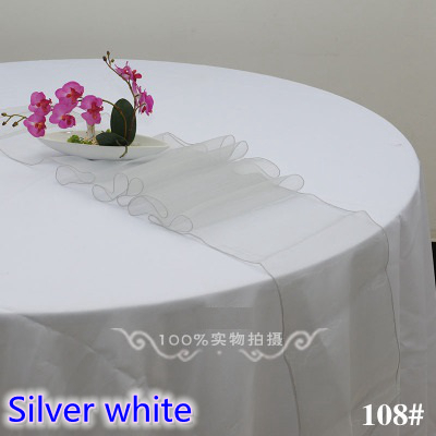 Silver White Party Decoration Crystal Organza Table Runner  Wedding,banquet,hotel And Party Decoration