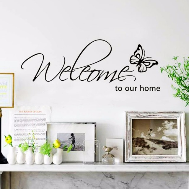 Butterfly Wall Sticker Quote Welcome To Our Home Wall Decal Removable Wall  Stickers Living Room Decor Part 40