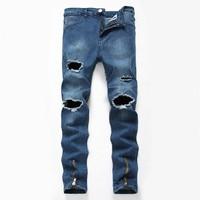 Men Skinny Jeans 2018 White And Bule Ripped Denim Pants Hole Zipper Biker Jeans Men Slim