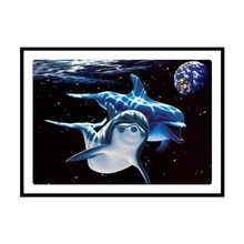 DIY Diamond Thorn Dolphin Cross Stitch 5D Mosaic Painting Round Christmas Gift
