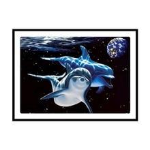 DIY Diamond Thorn Dolphin Cross Stitch 5D Mosaic Painting Round Christmas Gift