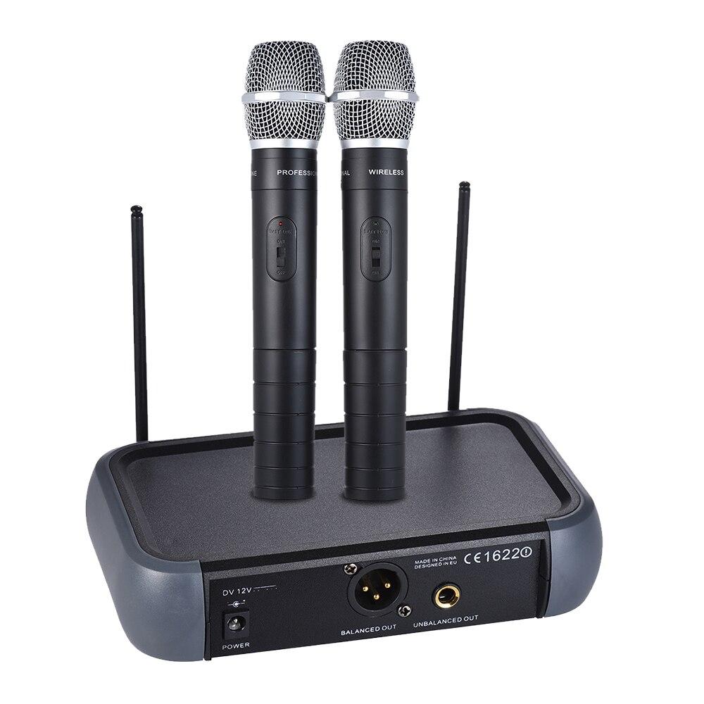 Micrófono de mano inalámbrico sistema VHF de doble canal con función de Eco 2 micrófonos de condensador y 1 receptor 6,35mm Cable de Audio-in micrófonos from Productos electrónicos    1