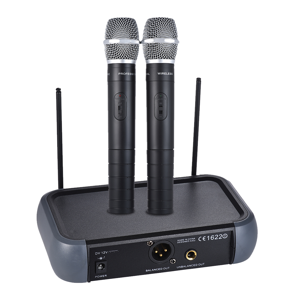 wireless handheld microphone dual channel vhf system with echo function 2 condenser microphones. Black Bedroom Furniture Sets. Home Design Ideas