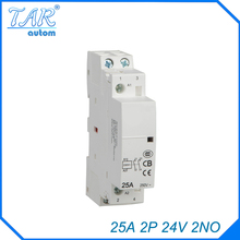 цена на 24V Coil 25A  2NO 2 Pole 2P Household AC Contactor Modular 35mm DIN Rail Mount 25Amp