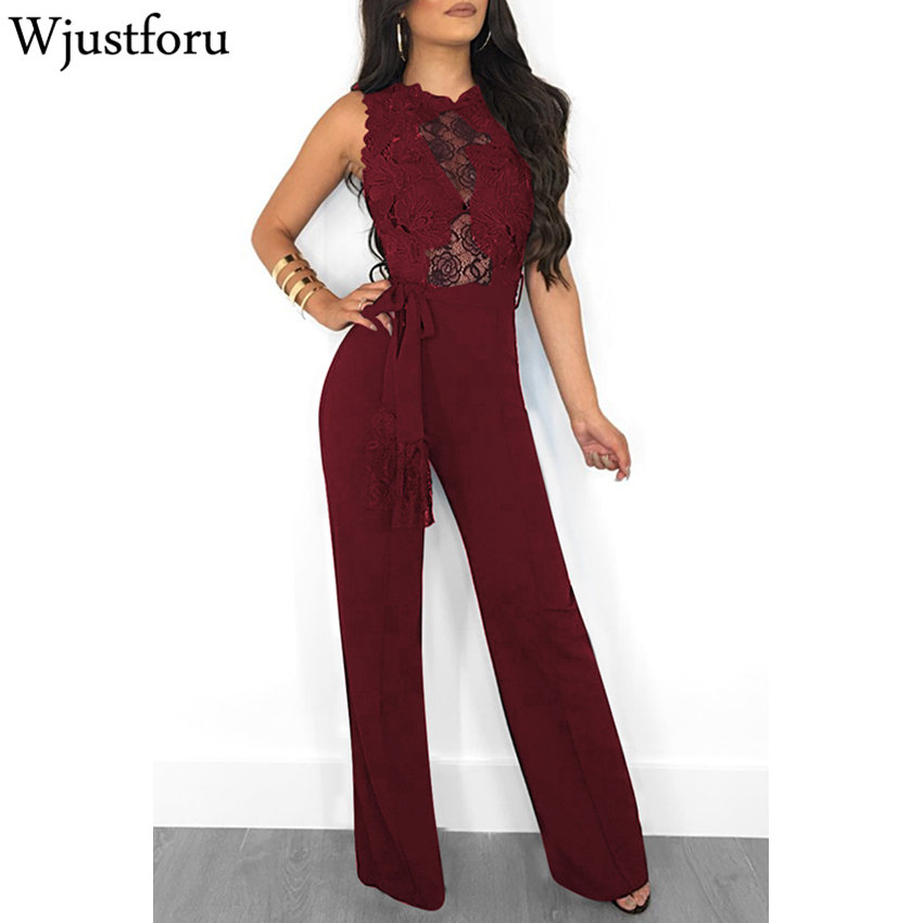 Wjustforu Casual Lace Elegant   Jumpsuit   New Fashion Slim Bodycon Wide Leg   Jumpsuit   Bandage combinaison femme 2018 Sexy   Jumpsuit