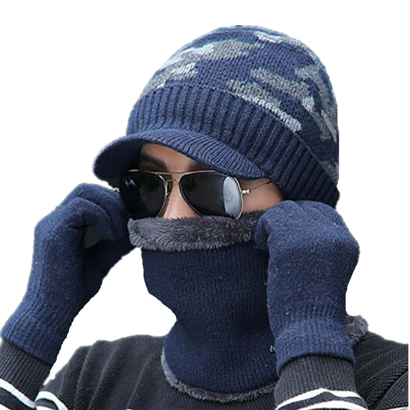 3pcs Winter Hats   Skullies     Beanies   Hat Winter   Beanies   For Men Women Scarf Caps Balaclava Wool Mask Gorras Bonnet Knitted Hat