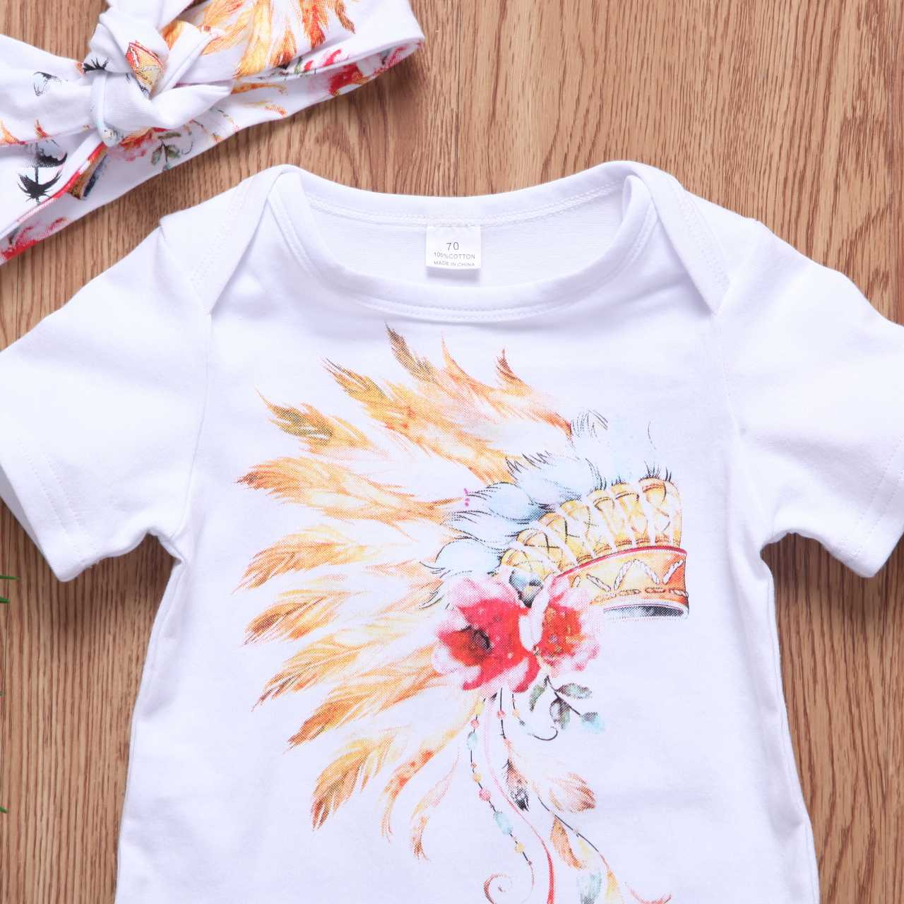 b514ba6713d58 ... Newborn Baby Boy Girls Gypsy Feather Outfits Clothes Tops + Shorts +Headband  3pcs Baby Clothing ...