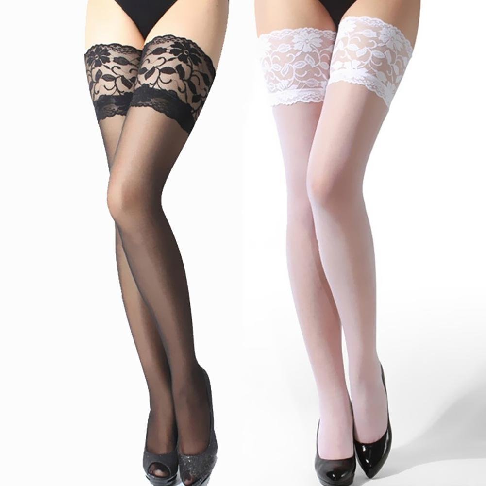 Fashion Sheer Lace Top Stay Up Stockings Lingerie Woman Pantyhose See Through Gaiters Elastic Medias De Mujer