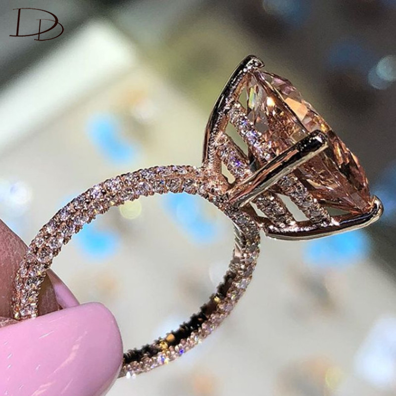 DODO Shining Big Champagne AAA Zircon Rings For Women Unique Three sides Crystal Gold Color Wedding Luxury Ring Wholesale RA0415-in Wedding Bands from Jewelry & Accessories on Aliexpress.com | Alibaba Group