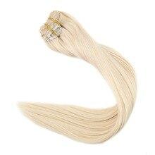 Полностью блестящие человеческие волосы для наращивания на заколках, одноцветные волосы, 9 шт., 100 г, пряди для наращивания на заколках для белых женщин