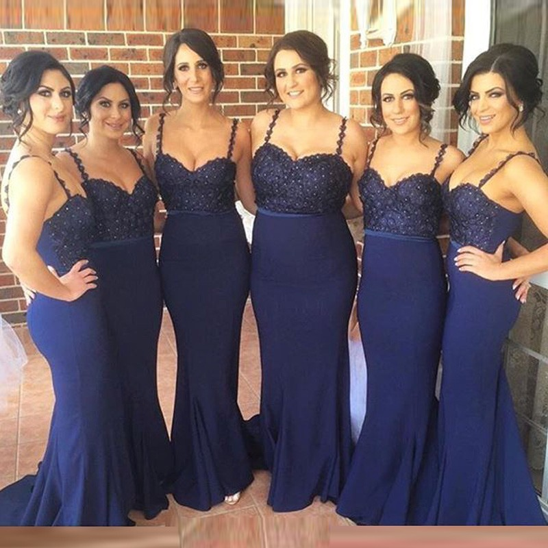 New Ed Mermaid Style Navy Blue Bridesmaid Dresses 2018 Spaghetti Strap Beaded Lace Long Dress Wedding Party Gowns In From