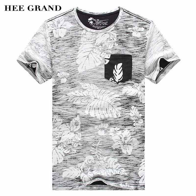 HEE GRAND Men Summer T- Shirts 2018 New O-Neck Plant Floral Decoration  100% Cotton Breathable Material Male Top Tees MTS2386