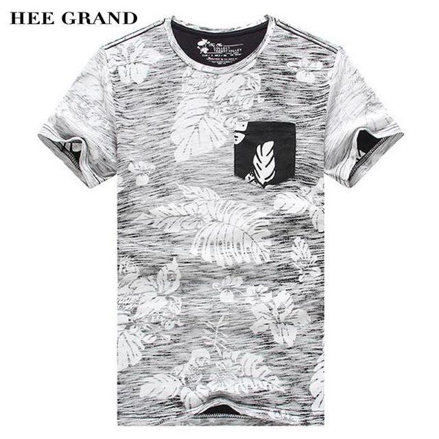 Hee Grand/летние мужские Т-Рубашки Новинка 2017 года о-образным вырезом завод Цветочные украшения 100% хлопковые дышащие Материал мужской футболки MTS2386