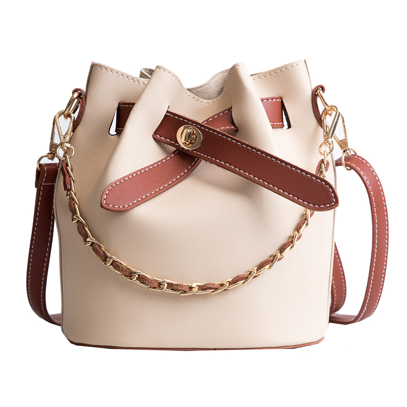 2 Bags Handbag PU Leather Simple Casual Tote Bag Portable Chain Bucket Shoulder Bags