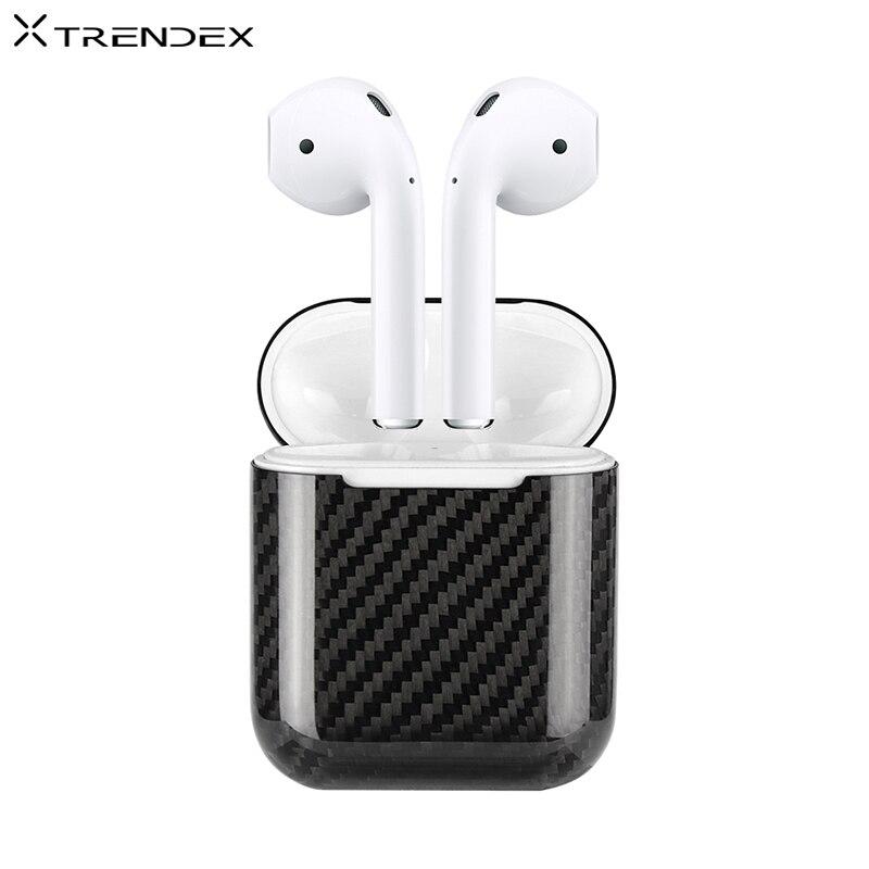 TRENDEX Équipée Cas Pour AirPods 100% Réel Véritable Carbone fibre Hybride rouge à lèvres de charme Cas Pour Apple AirPods Écouteur Couverture Coque