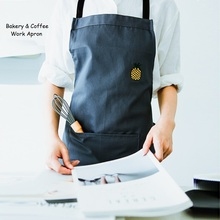 New Design!Bakery Woman Man Work Long Apron,Simple Embroided Design Halter Apron,Household Restaurant/Cafe Chef Apron,WQ1