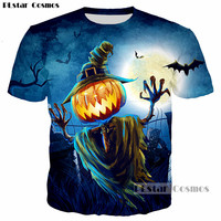 PLstar Cosmos Halloween Gala Ghost Hands Pumpkin Lantern 3D Print T Shirt Casual Hip Hop Tshirt