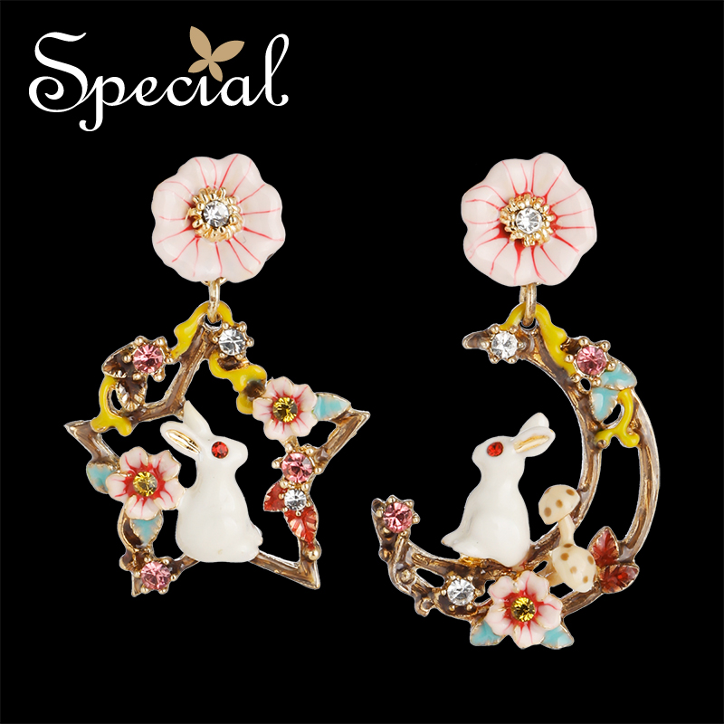 Special European and American S925 Silver ins Earrings Earrings with the Heart of the Girl Heart and the Rabbit 39 s Rabbit from Di in Stud Earrings from Jewelry amp Accessories