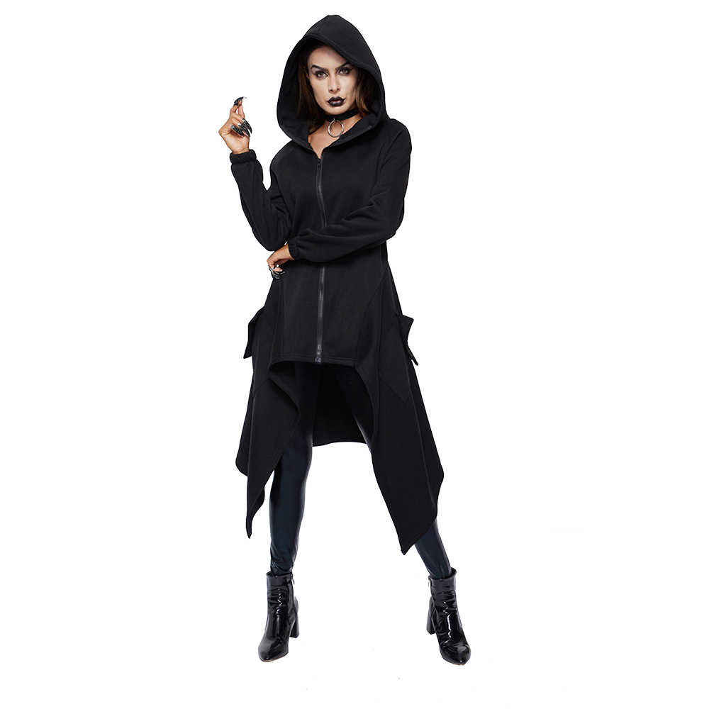 Trenchcoat Vrouwen Plus Size Winter Thicken Fleece Warm Goth Fashion Asymmetrische Lange Overjas Grijs Hooded Straat Casual Bovenkleding