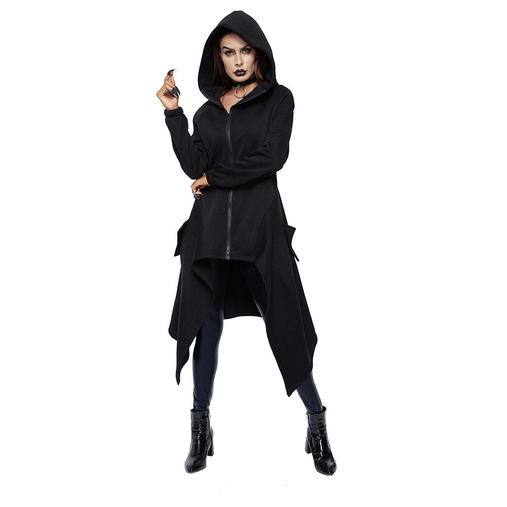 Trench   Coat Women Plus Size Winter Thicken Fleece Warm Goth Fashion Asymmetric Long Overcoat Gray Hooded Street Casual Outerwear