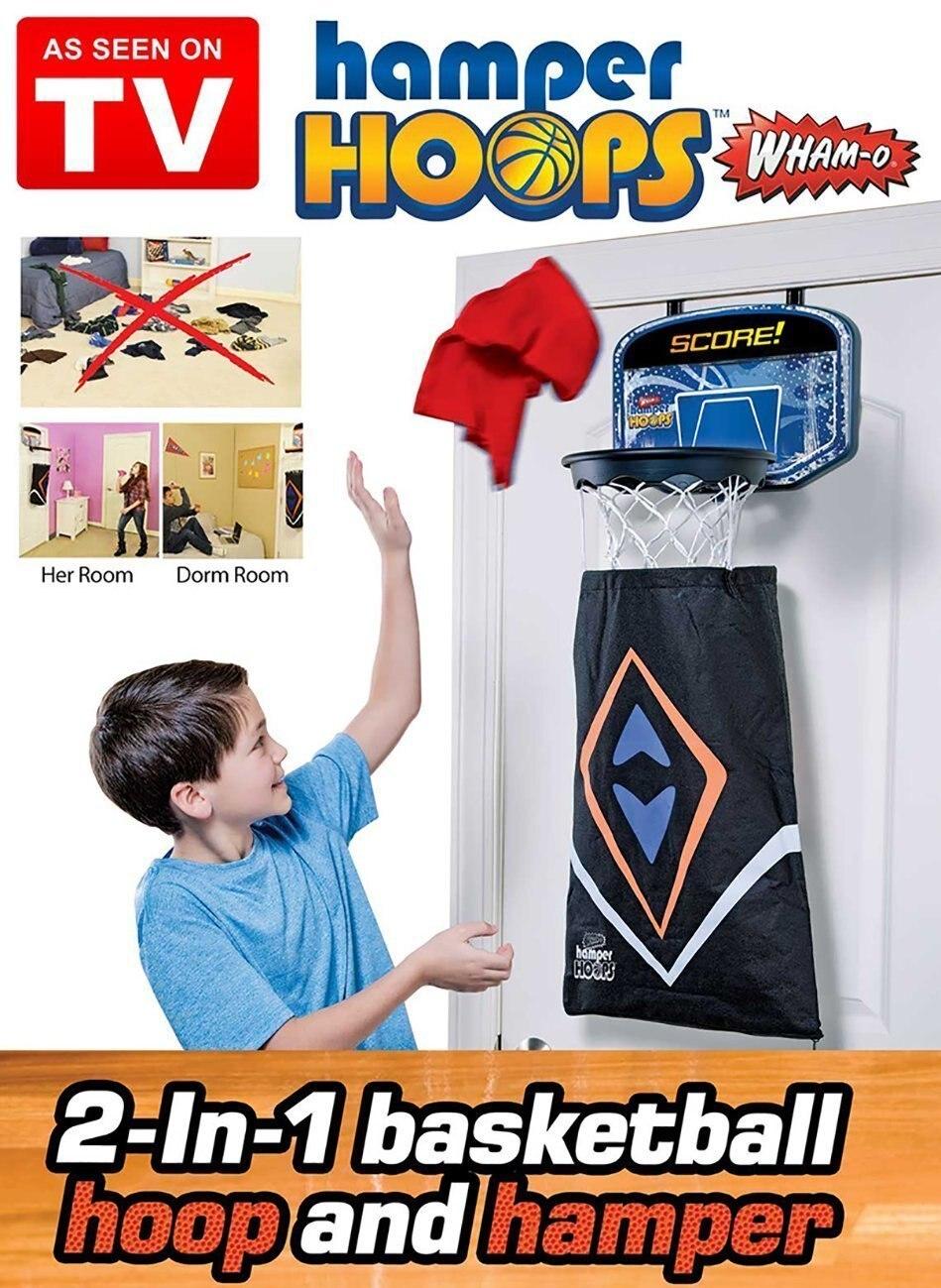 2PCS Hamper Hoops 2in1 Over-The-Door Basketball Backboard Hoop And Hamper With Detachable Dirty Laundry Bag for Kids Children