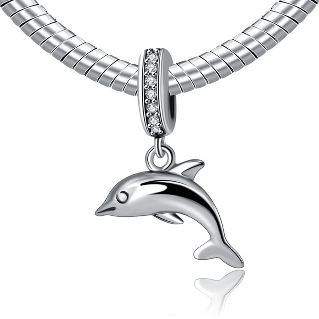 Authentic 925 Sterling Silver Bead Charm Playful Dolphin Pendant Beads With Crystal Fit Pandora Diy Bracelet Bangle Jewelry In From
