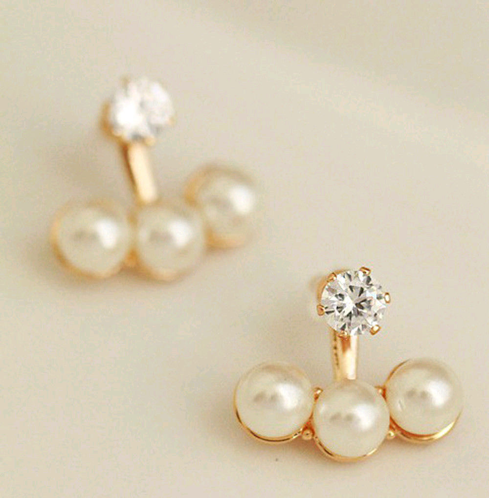 Women Crystal Golden Shell Pearl Front And Back Ear Stud Earrings Earbob  Fashionin Stud Earrings From Jewelry & Accessories On Aliexpress   Alibaba