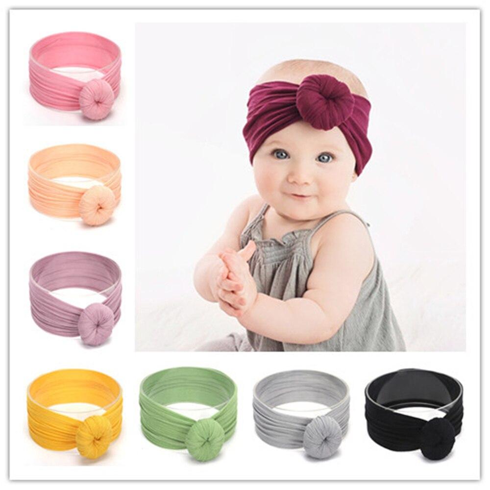 18Colors Girls Boys Turban Headband Bebe Super Soft Nylon Headwraps Kids Solid Ball HairBand Cute Top Knot Headband Headwear