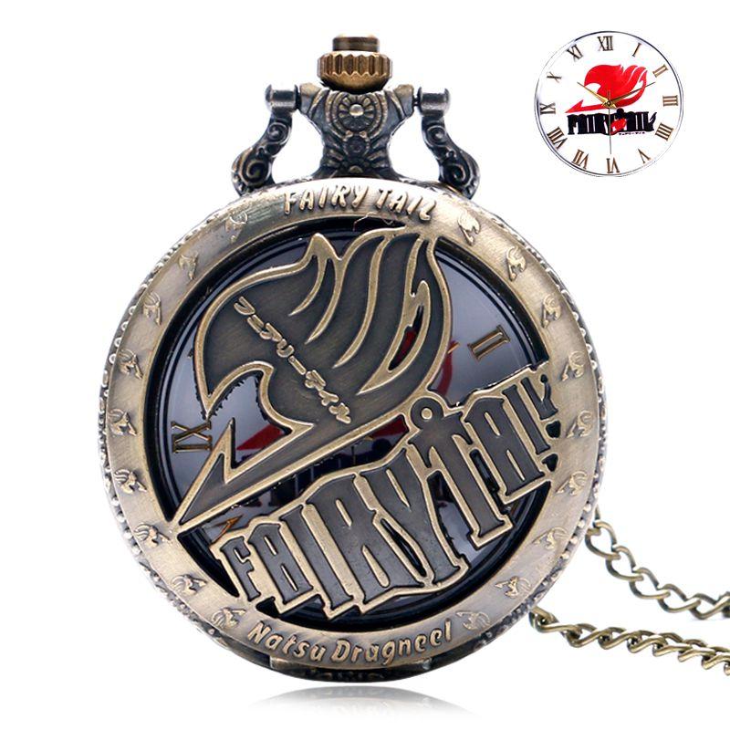 Vintage Animate Fairy Tail Vzorec žepne ure Votlo Natus Dragneel Design Vintage Quartz Fob Watch z ogrlico verižno uro