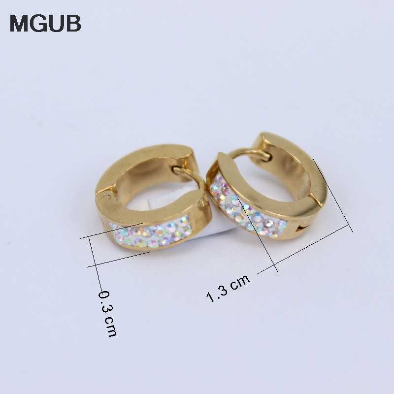 957b30f6c ... MGUB wholesale 12 pairs/sets Stainless steel fashion jewelry crystal Hoop  earrings female models gold