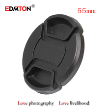 55mm lens cap 55mm Center Pinch Snap-on Front Lens Cap for camera Lens Filters with Strap for canon sony nikon