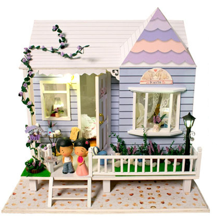 Dollhouse Miniature Model Building Kits 3D Handmade Wooden Diy Doll House With Furniture Christmas Birthday Greative Gift Toys new arrive diy doll house model building kits 3d handmade wooden miniature dollhouse toy christmas birthday greative gift
