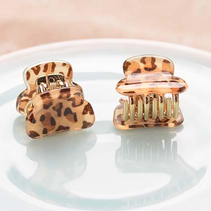(2 PCS/LOTS)Fashion Acrylic Leopard Print Pattern Hair Claws Hair Accessories For Girls Hair Ornaments