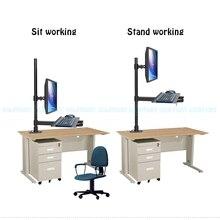 купить W812 Full Motion Wall Mount Ergonomic Sit-Stand Workstation PC Stand Swivel Monitor Holder +Keyboad Holder онлайн