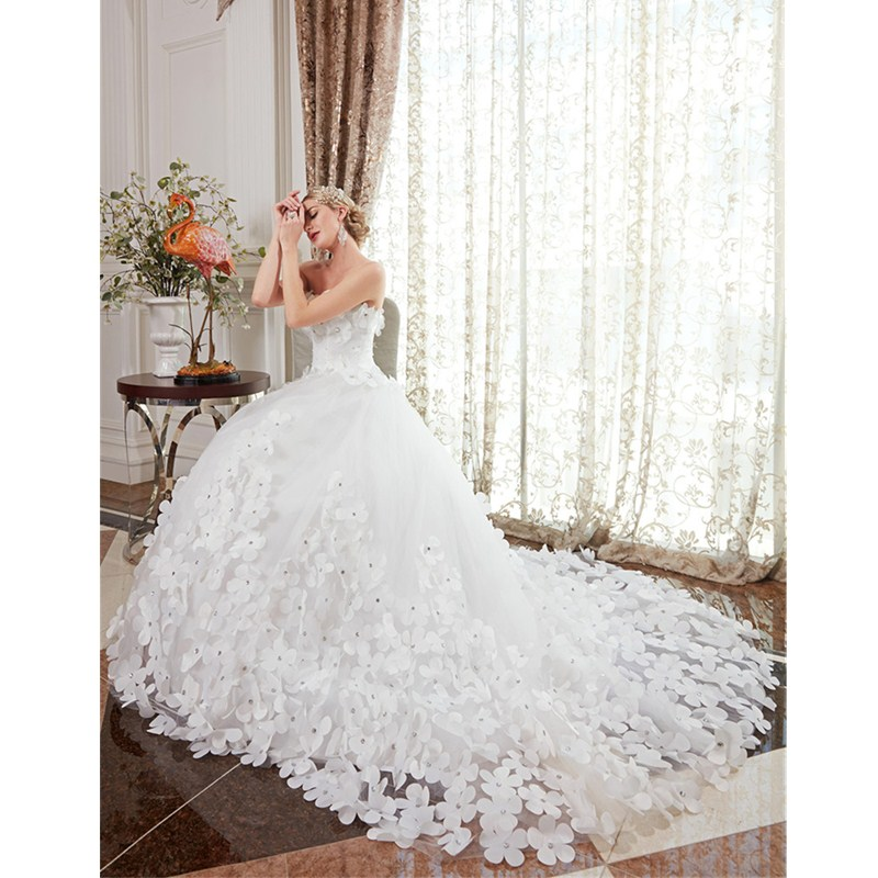 LAN TING BRIDE Ball Gown Strapless Chapel Train Satin Tulle Custom Wedding Dresses with Crystal Detailing Flower