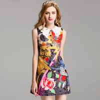 New 2017 Summer Fashion Dress Women S Sleeveless Beading Sequined Novelty Character Space Robot Cat Printed
